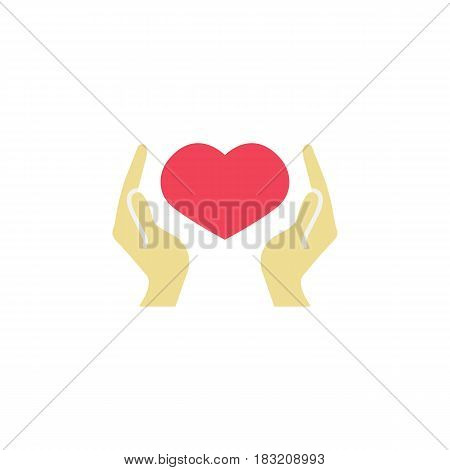 Hearth in hands flat icon, mothers day, mom care vector graphics, a colorful solid pattern on a white background, eps 10.