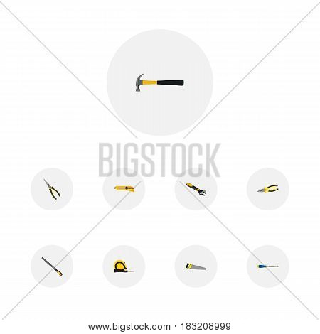 Realistic Sharpener, Wrench, Nippers And Other Vector Elements. Set Of Tools Realistic Symbols Also Includes Tape, Appliance, Noise Objects.