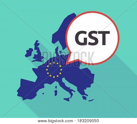 Long Shadow Eu Map With  The Goods And Service Tax Acronym Gst