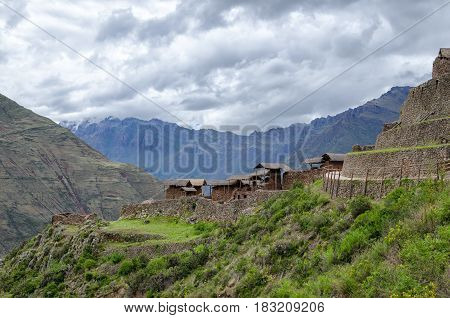 View to ancient Inca huts in Picas