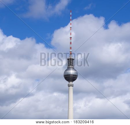 BERLIN GERMANY - APRIL 23 2017: Berlin Television Tower Against A Cloudy Sky