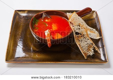 Seafood Soup. Soup With Shrimps, Oysters And Herbs