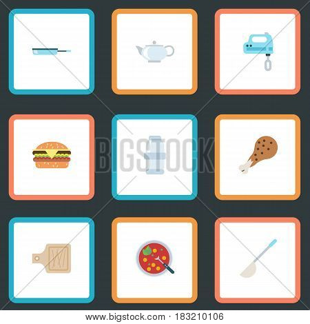 Flat Breadboard, Teapot, Skillet And Other Vector Elements. Set Of Kitchen Flat Symbols Also Includes Broth, Mixer, Frying Objects.