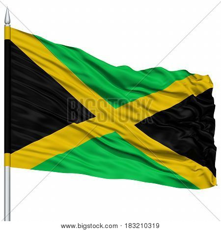Jamaica Flag on Flagpole , Flying in the Wind, Isolated on White Background