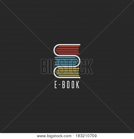 E-book bookstore logo online school education emblem mockup reading club icon stack books in the shape of the letter E