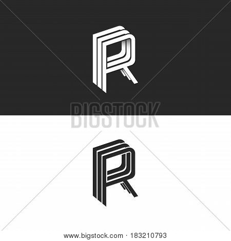 Letter R Logo Isometric Emblem Rrr Symbol, Black And White Monogram Hipster Design Element Template.