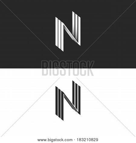 Letter N Logo Nnn Isometric Emblem, Geometric Design Element Perspective Hipster Monogram, Parallel