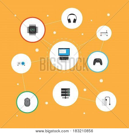 Flat Control Device, Presentation, Laptop And Other Vector Elements. Set Of PC Flat Symbols Also Includes Computer, Drive, Database Objects.