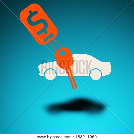 Buying renting a car. An icon of a car hovers in the air casting a shadow on blue background. Next to the car is a key with a trinket.