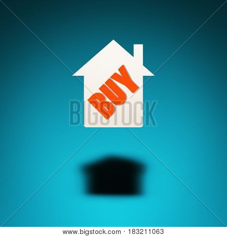 Buying a house. An icon of a house hovers in the air casting a shadow on blue background. The word