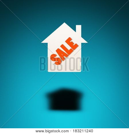 Property for sale. An icon of a house hovers in the air casting a shadow on blue background. The word
