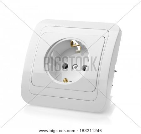 Wall plastic power socket  isolated on white