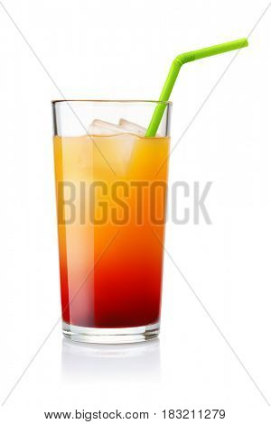 Glass of Tequila Sunrise cocktail isolated on white