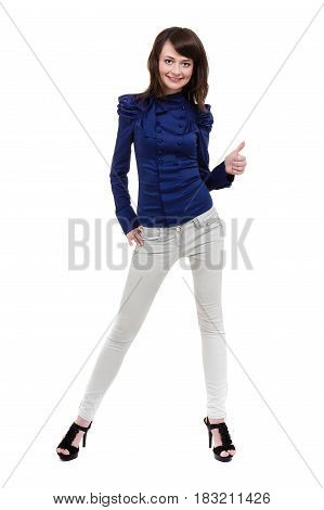 Beautiful woman with thumbs up, isolated on white in full length.