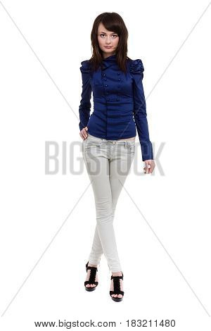 Smiling young woman isolated over white in full length.