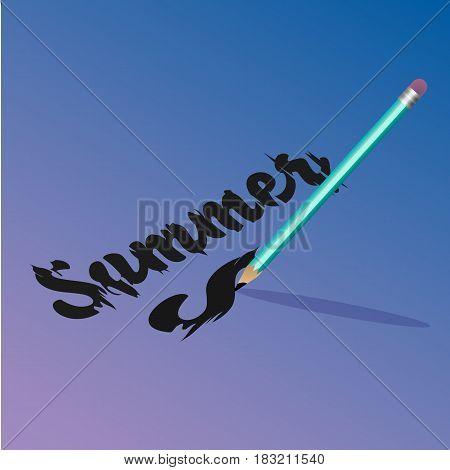 Beautiful vector illustration. Bright pencil. Inscription. Summer