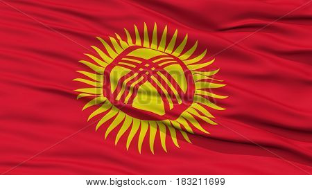 Closeup Kyrgyzstan Flag, Waving in the Wind, High Resolution