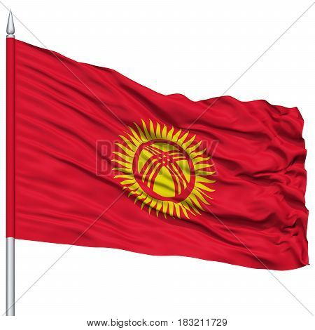 Kyrgyzstan Flag on Flagpole , Flying in the Wind, Isolated on White Background