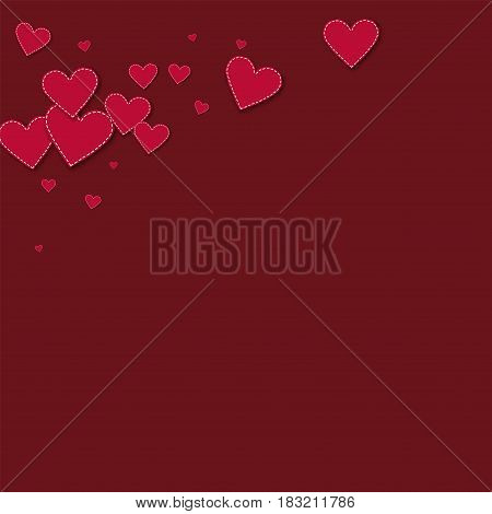 Red Stitched Paper Hearts. Top Left Corner On Wine Red Background. Vector Illustration.