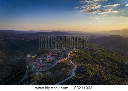 Aerial view of the historic village of Sortelha in Portugal; Concept for travel in Portugal