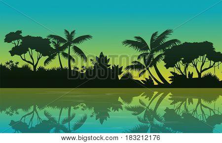 Beauty landscape of jungle on green background vector illustration