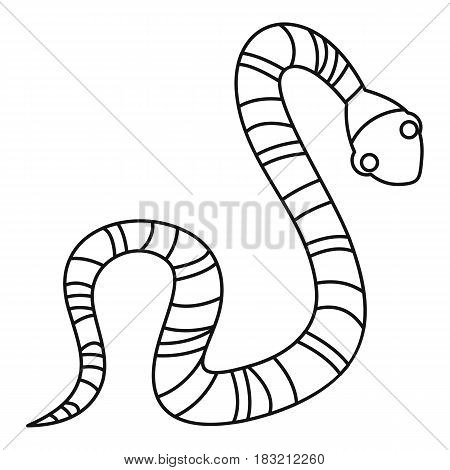 Striped snake icon in outline style isolated on white background vector illustration