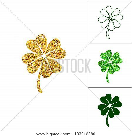 Set of four leaved clover for saint Patricks day greeting with golden glitter, silhouette, line and greenery shamrock. Vector lucky bundle isolated on white background.