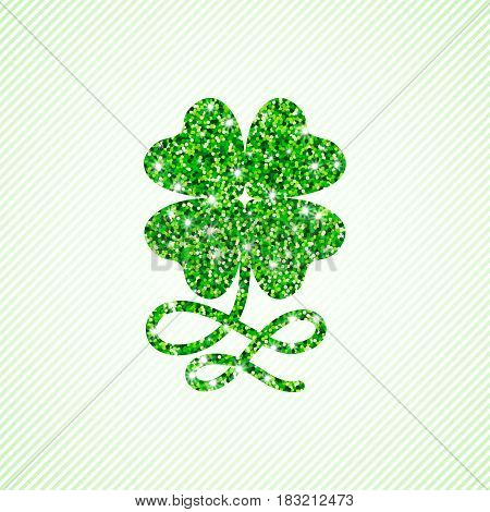 Four leaved clover with curly stem of glitter greenery particles. Vector lucky symbol isolated on soft green diagonal stripe background.