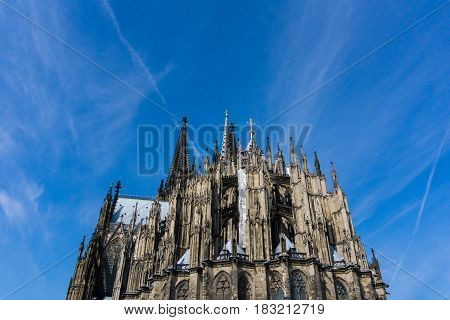 View on the beautiful old Cologne Cathedral in Germany / City of Cologne. The Cologne Cathedral.is a UNESCO World Heritage and was built in 13th century. He has a height of 157,38 meters.