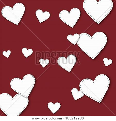 Big White Paper Hearts. Scattered Pattern With Big White Paper Hearts On Wine Red Background. Vector