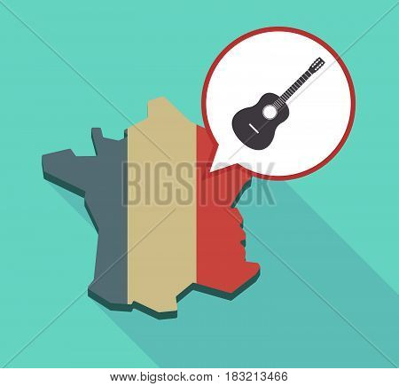 Long Shadow France Map With  A Six String Acoustic Guitar