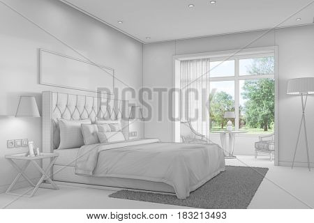 Bedroom CAD draft plan with double bed in house (3D Rendering)