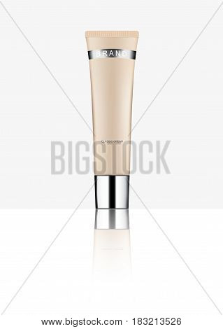Cosmetic packaging plastic tube. Vector on white