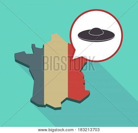 Long Shadow France Map With  A Flying Saucer Ufo