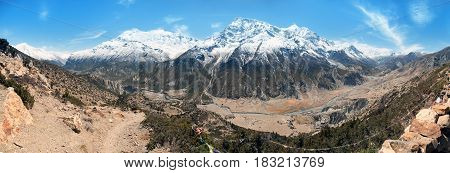 Panoramic view of Manang valley Bhraka village Annapurna 2 II Annapurna 3 III Ganggapurna and Khangsar Kang Annapurna range from Ice Lake way to Thorung La pass Annapurna circuit trek Nepal
