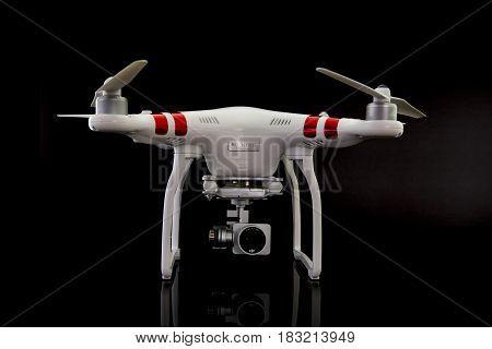 SWINDON UK - APRIL 21 2016: DJI Phantom Drone on a black background