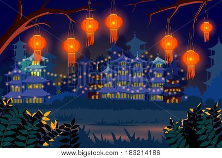 vector illustration of Chinese lantern floating in night sky