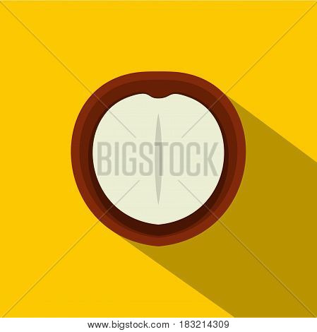 Macadamia nut icon. Flat illustration of macadamia nut vector icon for web on yellow background