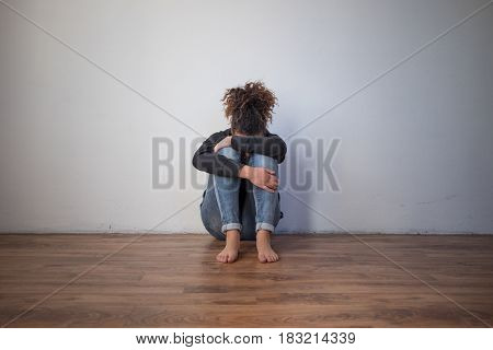 Sad And Lonely Black Girl Feeling Alone