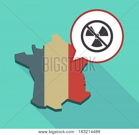 Long Shadow France Map With  A Radioactivity Sign  In A Not Allowed Signal
