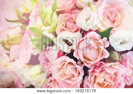 Pink and white roses in a bouquet. Greeting card. Love. Valentine's Day. Wedding.