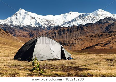 View of tent Putha Churen Himal and Dhaulagiri Himal - Dhaulagiri VI - Guerrilla trek - western Nepalese Himalayas