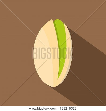 Pistachio nut icon. Flat illustration of pistachio nut vector icon for web on coffee background