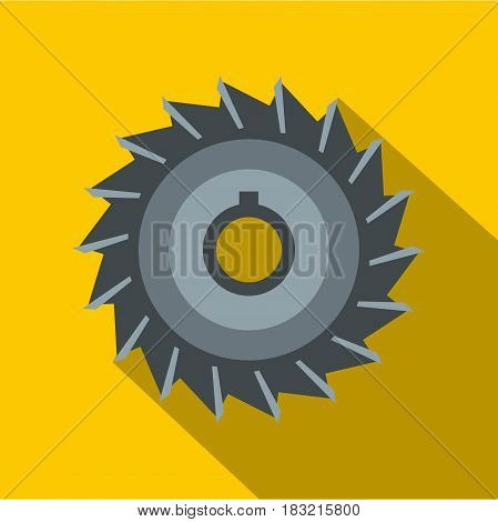 Circular saw disk icon. Flat illustration of circular saw disk vector icon for web on yellow background