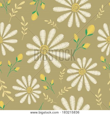 Vector seamless texture. Embroidery floral design with camomiles. Decorative pastel flowers pattern. Botanical ornate background.