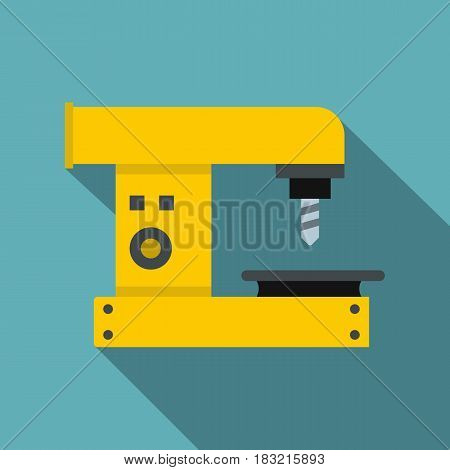 Drilling machine icon. Flat illustration of drilling machine vector icon for web on baby blue background