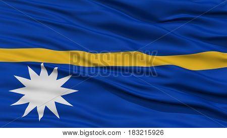 Closeup Nauru Flag, Waving in the Wind, High Resolution