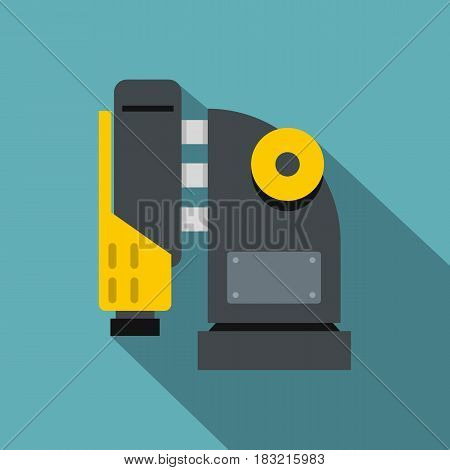 Pneumatic hammer machine icon. Flat illustration of pneumatic hammer machine vector icon for web on baby blue background