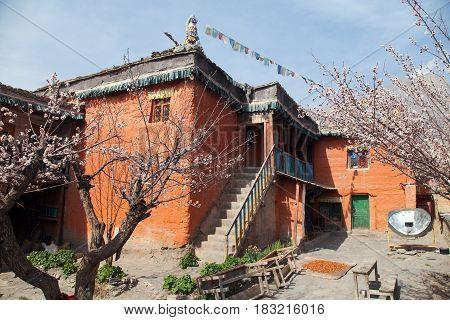 Nepalese building in Jhong village near Muktinath beautiful village in lower Mustang area round Annapurna circuit trekking trail Nepal