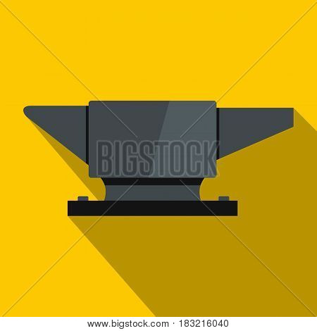 Anvil. icon. Flat illustration of anvil. vector icon for web on yellow background
